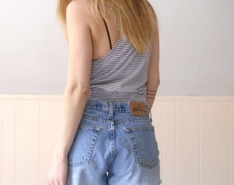 30% off ... 90s Express Blues Frayed Denim Button Front Cut Offs Shorts - MEDIUM M