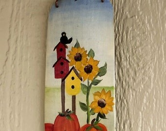 Wooden Pumpkin Fall Welcome Sign , Hand Painted