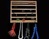 "Custom Large Hanging Earring Holder with all long slots and no holes, 16"" wide."