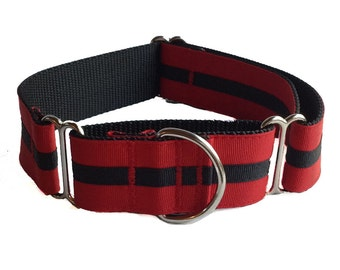 Red and Black Stripe Martingale Wide Dog Collar