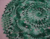Crochet, fresh green  shaded, pineapple designed  doily, new, ready to mail