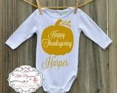 Personalized Gold Pumpkin Thanksgiving Onesie or T Shirt - Fall T Shirt - Turkey T Shirt