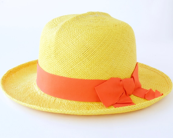 Panama Straw Hat Women's Straw Hat Spring Fashion Summer Sun Hat Spring Accessories-Yellow Wide Brimmed Straw Hat Optimo Hat Beach Hat