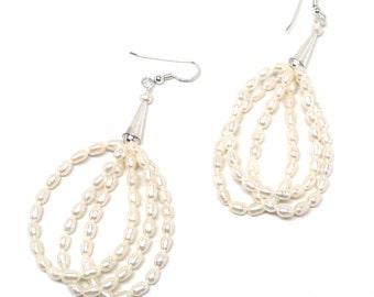 freshwater pearl 3 strand earrings