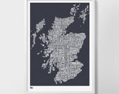 Scotland Type Map Screen Print, Scotland Type Map, Scotland Word Map, Scotland Wall Poster, Scotland Wall Art, Scotland Typographic Print