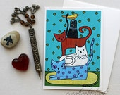 Togetherness - Pile of Cats- 5x7 Art Card with Envelope
