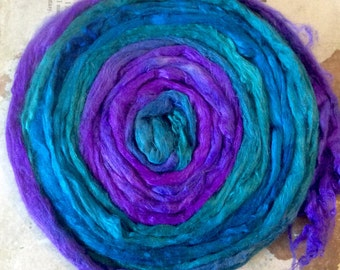 Mulberry Silk Fiber 20 grams Hand dyed by Spiraldyed