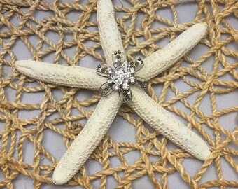 White Starfish with Poppy Gem Embellishment - Beach Wedding Decor-Bridal Bouquet