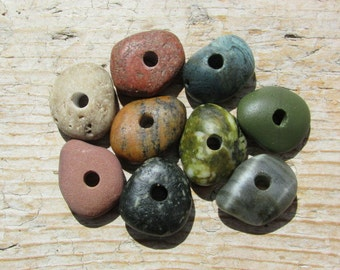NATURAL Stone Beads Spacers Beads Drilled Beach Stones 3mm