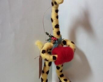 Giraffe on Skates Felted Wool Ornament