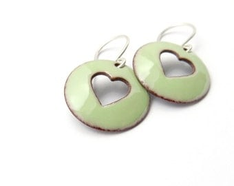 Heart Earrings - Green Enamel Earrings - Green Heart - Valentines Day