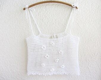 Hand crochet flowers crop top, White boho chic top, Filet crochet