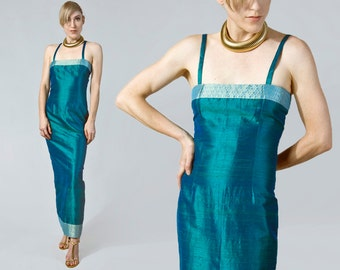90s teal thai silk maxi dress with gold paisley contrast | XS-S