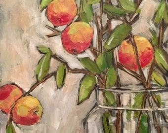 Apple Branches original glass jar painting