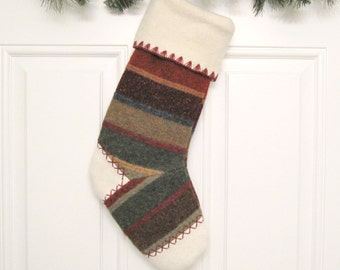 Woodland Striped Knit Customized Christmas Stocking Personalized Holiday Decoration Handcrafted from Felted Wool Sweater no683