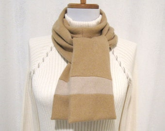 Tan Cashmere Scarf / Tan Winter Scarf / Tan Scarf / Tan Neck Warmer handmade from reclaimed felted wool sweaters (No629)