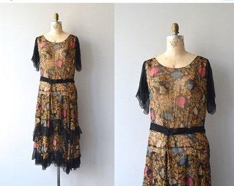 25% OFF.... Floral Canopy dress   1920s silk chiffon • floral 20s dress