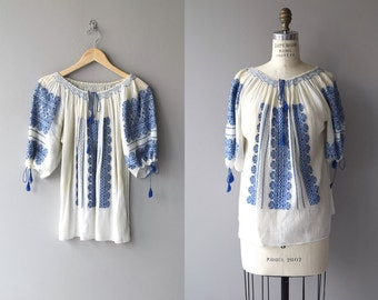 Romanian folk blouse | vintage 1930s embroidered gauze tunic | bohemian cotton gauze 30s blouse