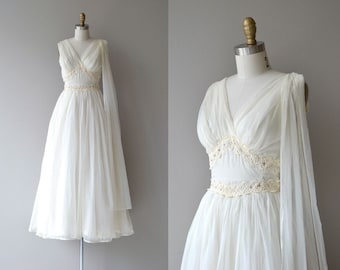 On Gossamer wedding gown | vintage 50s wedding dress | chiffon 1950s wedding dress