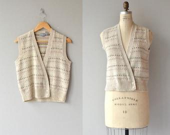 Pindot sweater vest | vintage wool vest | 1980s wool vest