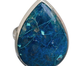 Shattuckite Pear-Shaped Ring (size 8) for the Solid Achievement of Your Ambitions