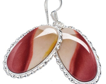 Designer Mookaite Jasper Oval Earrings in Sterling Silver for Wealth and Success
