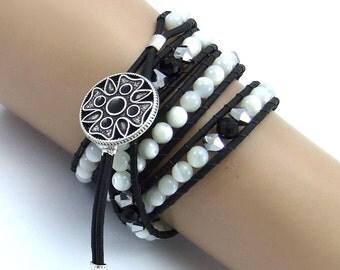 Monochrome Mother of Pearl Beaded Leather Wrap Bracelet, Handmade, Black and White, 4x wraps, Matte Black Leather Cord, Ladder Bracelet