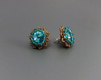 Blue Zircon Swarovski Crystal Rivoli Beaded Stud Earrings Handmade Sterling silver Posts