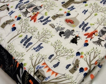 "baby quilt with woodland animals- raccoons, bears, owls, foxes, rabbits, party ""Woodland Celebration"" Ready to ship, free shipping to USA"