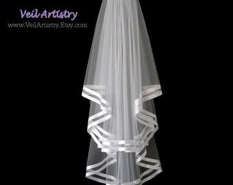 Short Bridal Veil, Brilliance Veil,  2 Tier Bridal Veil, Satin Ribbon Trim Veil, Double Ribbon Veil, Made-To-Order Veil, Bespoke Veil