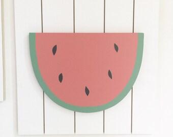 Watermelon Wall Art, Kids Wall Art, Wood Wall Art, Fruit Wall Art, Wooden Watermelon, Fruit Nursery Decor, Teen Wall Decor, Kitchen Wall Art