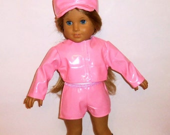 Pink Pleather Jacket, Newsboy Style Hat, 18 Inch Doll, Pink Shorts, White Tank Top, Modern Outfit, American Made, Girl Doll Clothes