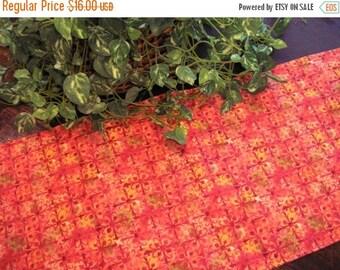 ON SALE Table Runner Rust Hues Batik Print Padded