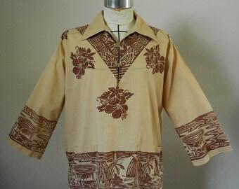 Vintage 1970s Polynesian print shirt, men, Mastiff, small, medium