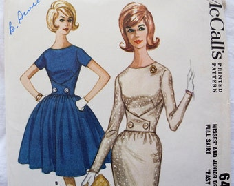 Vintage McCall's 6473, easy sewing pattern, Misses and junior dress, slim or full skirt, 1960s, bust 32