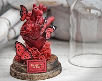 Anatomical Heart and Butterflies Miniature Sculpture GLASS Dome Jar