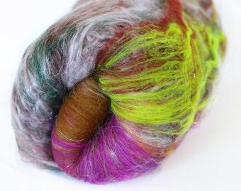 Crystallized Jasper 3.8 oz  Wool - Merino- Art Batt // Wool Art Batt for spinning or needle felting