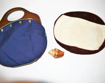 Vintage Bermuda Bag with Navy and Maroon with Ivory Covers