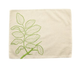 Branch Linen Placemats Set of 4, Natural Linen Green Leaf, Embroidered Linens, Table Linen, Fabric Placemats, Dining Textile