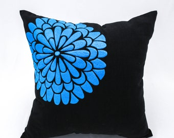 Black Floral Pillow Cover, Black Linen Deep Teal Flock Flower Embroidery, Floral Couch Pillow, Teal Flower Cushion, Modern Home Decor