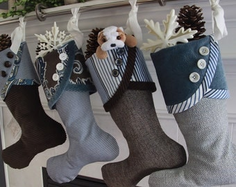 Christmas Stockings - Indigo & Espresso  -- Decidedly Unique, Rich and Delicious