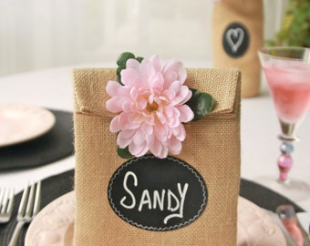 JULY Shipping! Sets of 12 - 23 Burlap Party or Gift Bags with Chalk Cloth Labels to Customize For Decorating or Gifting