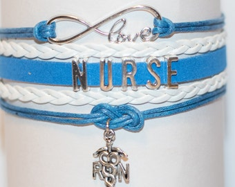 Blue and white RN Nurse Handmade Infinity Bracelet