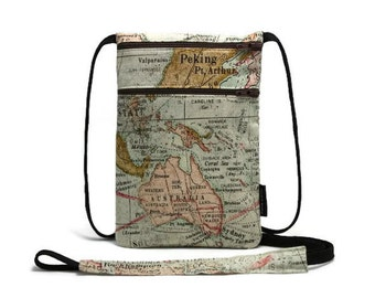 Passport Holder, Small tavel wallet, Travel organizer, Zipper pouch, Cross body bag, Neck wallet - World Map, Light Green