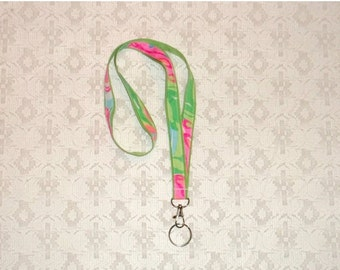 SWEET SALE Preppy Pink Green Lilly Pulitzer So a Peeling Fabric Lanyard
