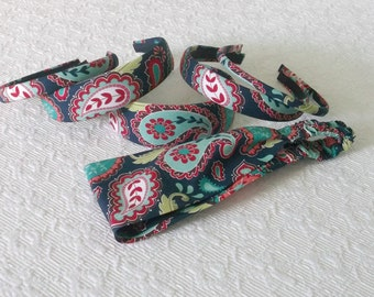 Preppy Boho Navy Jade Paisley Headband in 6 Sizes