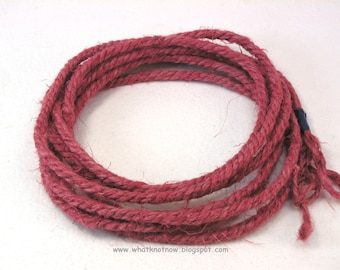 red handmade jute rope jewelry cord craft rope hand dyed red macrame cord special cord hand twisted cord 3889
