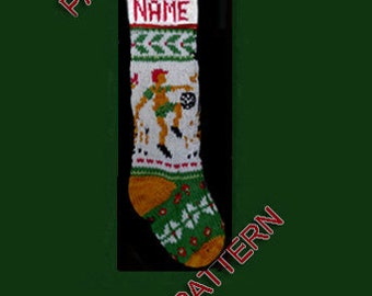 Pattern only, hand knit Christmas stocking, snowflake, holly and football player, with gold toe and heel