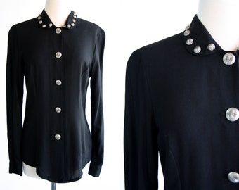 New Frontier Black Button Down and Silver Tone Button Stud Accent Woman's Vintage Blouse