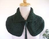 Knit Cape Outlander Inspired Collar Highlands Capelet Outlander Knits Shoulder Wrap In Forest Green Ready to Ship - Gift for Her